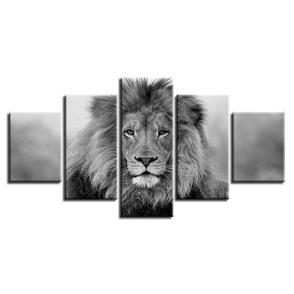 Black & White Lion Painting