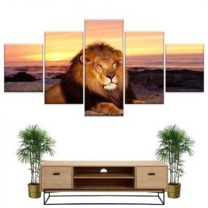 Lion Sunset Painting