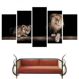 5 Piece Lion and Lioness Canvas