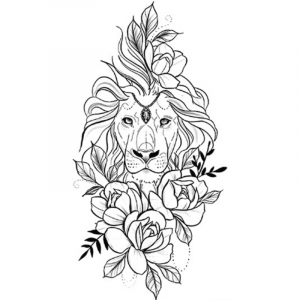 Elegance Temporary Lion Tattoo