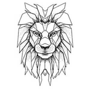 Geometric Lion Temporary Tattoo