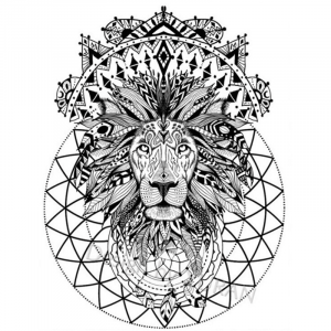Lion Mandala Temporary Tattoo
