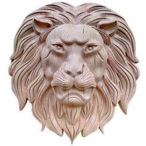 Wood Lion Head Wall Decor