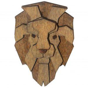 Wooden Lion Brooch