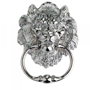 Brushed Nickel Lion Head Door Knocker