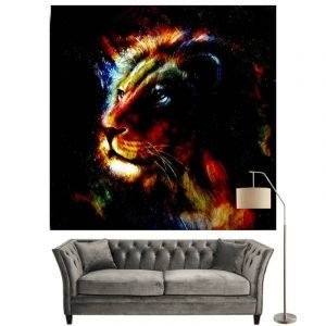 Colorful Lion Painting on Canvas