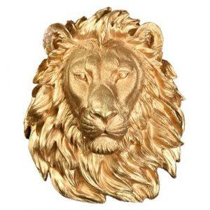 gold lion head wall decor