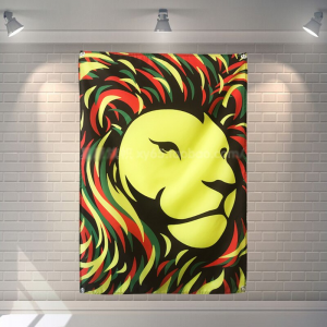 Green Yellow Red Flag with Lion