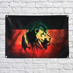 Green Yellow Red Lion Flag