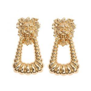 lion head door knocker earrings