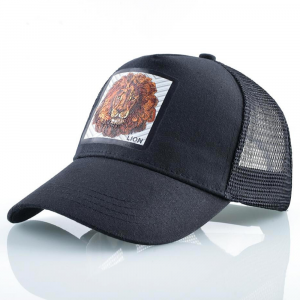 lion trucker cap black