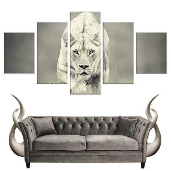 Lioness Black and White Canvas