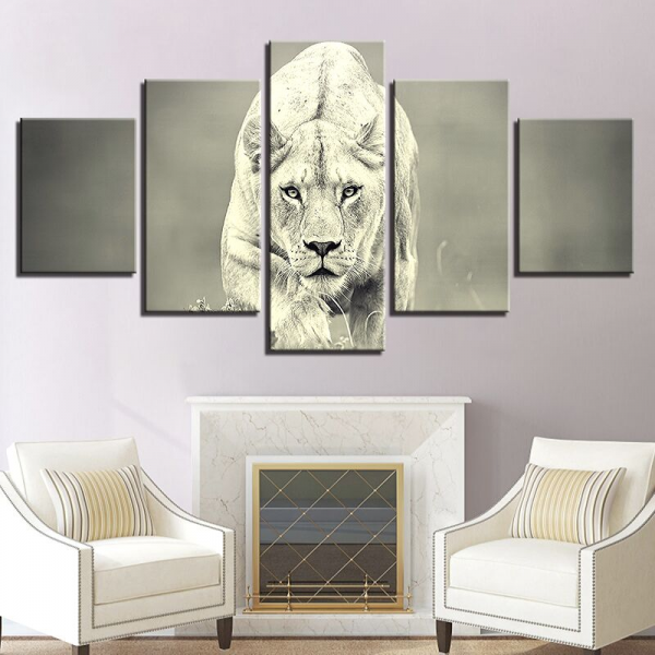 Lioness Black and White painting