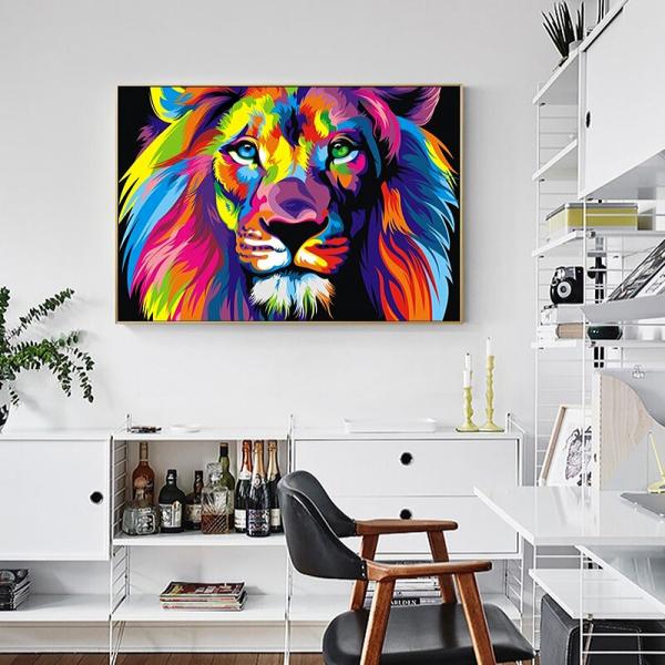 pop art lion wall decor