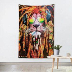 Rasta Cool Lion Jamaica Flag