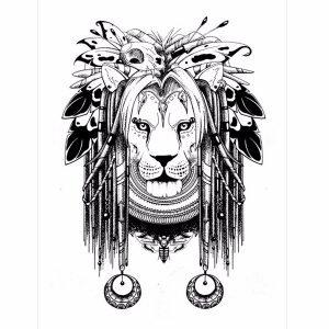 Rasta Lion Temporary Tattoo