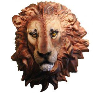 resin lion head wall mount