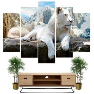 white lion mountain painting