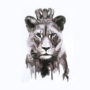temporary lion tattoo woman