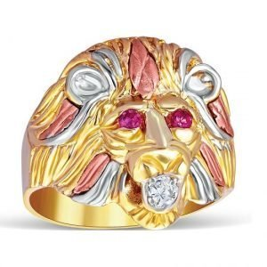 Colorful Lion Face Ring