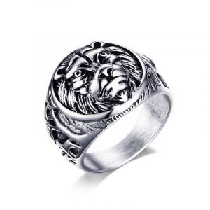 Mens Stainless Steel Lion Ring