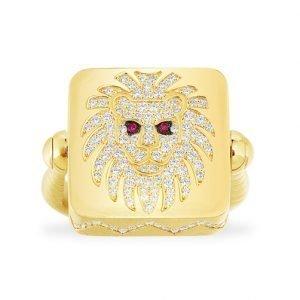 Women's Geometric Lion Ring