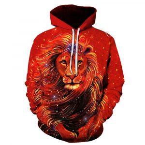 Colorful King Lion Print Hoodie