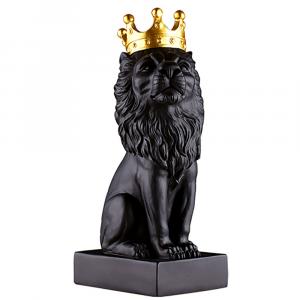Indoor Lion Statue Decoration Black