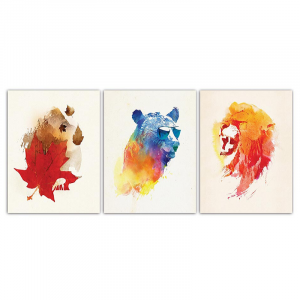 Autumn Bear And Lion Wall Art
