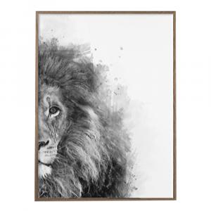 Black And White Lion Half Portrait Wall Art