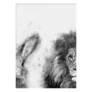 Lion And Rabbit Black And White Half Portrait Wall Art