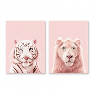Pink Lion And Tiger Wall Art Set