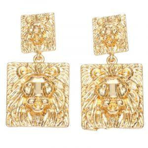 versace lion head earrings