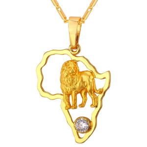 African Continent Lion Pendant