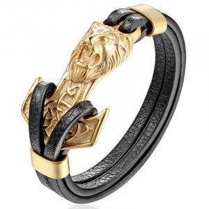 Anchor Lion Leather Bracelet
