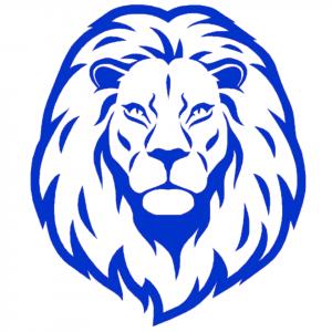 Blue Lion Head Sticker