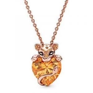 Amber Heart Lion Necklace