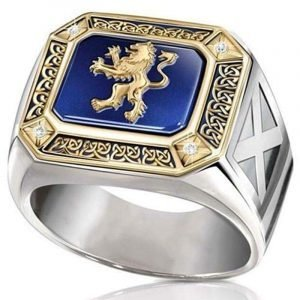 Blue Lion Signet Ring