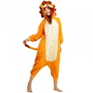 Hooded Lion Costume Pajama Orange