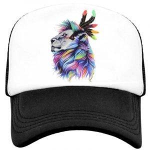 Lion Head Feathers Cap