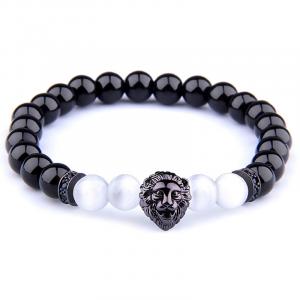 Black and White Bead Lion Bracelet