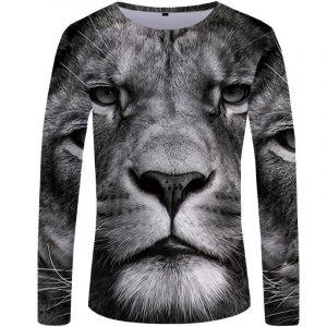 Black & White Lion Long Sleeve T-shirt