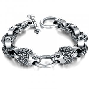 Biker Sterling Silver Lion Bracelet