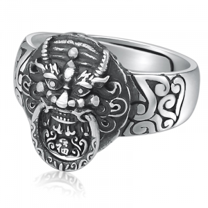 Chinese Lion Head Ring Silver
