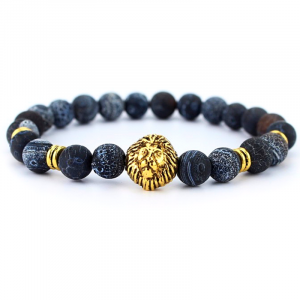 Blue Beads Lion Head Bracelet